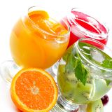 Various fruit juice and tea Royalty Free Stock Image