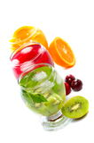 Various fruit juice and tea Stock Photos