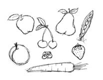 Various fruit and vegetable doodle set Stock Photo