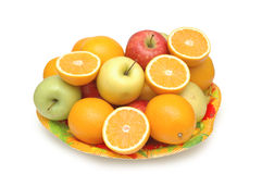 Various fruits. In the tray isolated on white stock photography