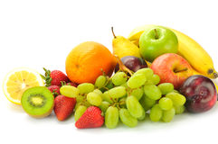 Various fruits. On the white background Royalty Free Stock Images