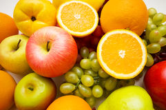 Various fruits arranged. At the market stand Royalty Free Stock Photo