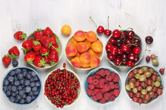 Various fruits in bowls Stock Image