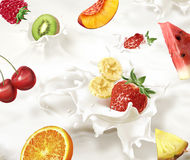 Various fruits falling into a sea of milk, causing  splashes. Various fruits, fruit salad,  falling into a sea of milk, causing a splash. Very close up view Stock Image