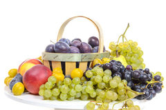 Various fruits, grapes, plums, peaches Royalty Free Stock Photos