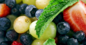 Various fruits and herbs in bowl stock video