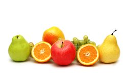 Various fruits isolated. On the white background Royalty Free Stock Photography
