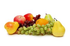Various fruits isolated. On the  white background Royalty Free Stock Image
