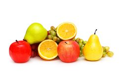 Various fruits isolated. On the white background Stock Image