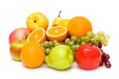 Various fruits isolated. On the white background Stock Images