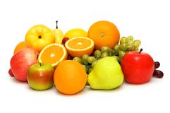 Various fruits isolated. On the white background Royalty Free Stock Images