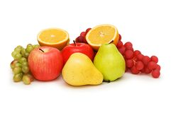 Various fruits isolated. On the white background Stock Photos