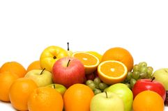 Various fruits isolated. On the white background Royalty Free Stock Photos