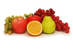 Various fruits isolated on the white background Stock Images