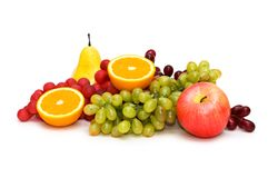 Various fruits isolated on the white background Royalty Free Stock Photo