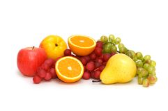 Various fruits isolated on the white background Stock Photo