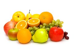 Various fruits isolated on the white background Stock Image