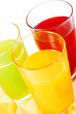 Various fruits juices Royalty Free Stock Photos