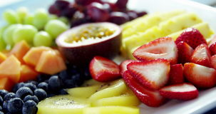 Various fruits on plate stock footage
