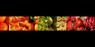 Various fruits in a row of vertical rectangles. One row of ten vertical rectangles filled with fresh fruits: mandarins, orange and mandarin pieces, tangerines Royalty Free Stock Images