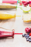 Various fruits smoothies, close up. Stock Image