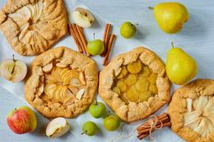 Various fruits tarts decorated with cinnamon sticks on the gray concrete background. Vegetarian healthy galette with fresh apples stock images