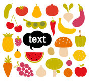 Various Fruits and Vegetables Stock Photo