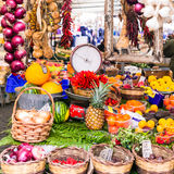 Various fruits and vegetables in local fruit market in Capo di F. Multicolored fruits and vegetables in fruit market,Campo di Fiori,Rome,Italy Royalty Free Stock Photo