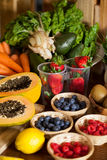 Various fruits and vegetables in wicker basket Royalty Free Stock Photo