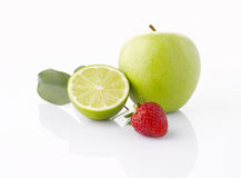 Various fruits  on the white background Royalty Free Stock Photo