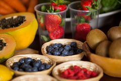 Various fruits in wicker basket Stock Photography