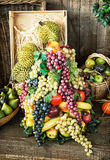 Various fruits in the wicker basket, healthy food, market place Stock Images