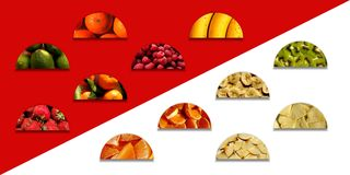 Various fruity textures inside semicircle shapes Stock Photography
