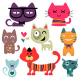 Various funny cats set Stock Images
