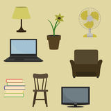 Various furniture and decoration items. Vector illustration of various furniture and decoration items. Flat style. vector illustration Stock Photos
