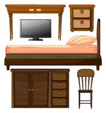Various furnitures and lcd television Stock Images