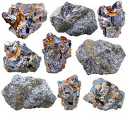Various galena mineral gem stones and crystals Royalty Free Stock Photo