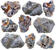 Various galena mineral gem stones and crystals. Macro shooting of collection natural rock - various galena mineral gem stones isolated on white background Royalty Free Stock Photo