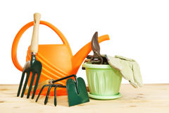 Various garden tools isolated over white Royalty Free Stock Photos