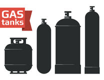 Various gas tanks sihlouette icons set. Stock Photo