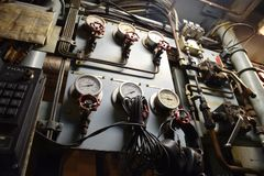 Various gauges and piping system royalty free stock image
