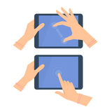 Various gestures of female hands with tablet screen. Royalty Free Stock Photo