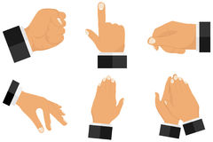 Various gestures with hands. Set of gestures from hands. Flat design,  illustration Stock Photos