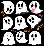 Various ghosts on black background Royalty Free Stock Photos