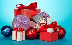 Various gift boxes and beautiful Christmas toys Stock Photography