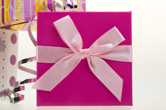 Various gift boxes with bow and ribbon Stock Photography