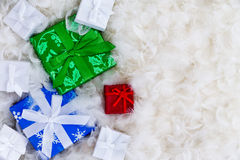 Various gift boxes with copy space in feathers Royalty Free Stock Image