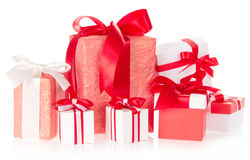 Various gift boxes with ribbons and the bows Stock Photos