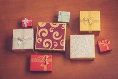 Various gift boxes. Selective focus. Vintage style Royalty Free Stock Images