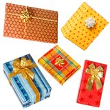Various gifts on white Stock Photos
